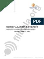 Anteproyecto del Informe de fiscalización horizontal operativa del gasto sanitario y farmacéutico en la Comunidad de Madrid. Ejercicios de 2011 a 2015