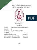 INFORME DUREZA CIENCIAS DE LOS MATERIALES MC 112