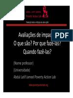 Aula 1 Avaliações de Impacto O Que São, Por Que Fazê-las, Quando Fazê-las - Português