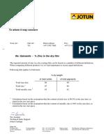 Galvanite - Percent Zinc in Dry Film