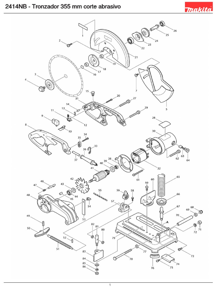 Diagrama Cortadora Makita 2414NB