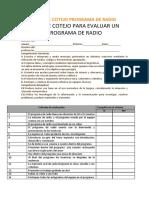 Lista de Cotejo Programa de Radio