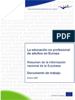 Non-Vocational Adult Education in Europe. Executive Summary of National Information in Eurybase Working Document January 2007 Sp