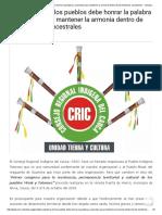 La Sabiduría de Los Pueblos Debe Honrar La Palabra y Acuerdos Para Mantener La Armonía Dentro de Los Territorios Ancestrales - Consejo Regional Indígena Del Cauca - CRIC