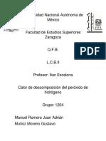 Calor de Descomposicion Del Peroxido de Hidrogeno