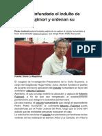 Declaran infundado el indulto de Alberto Fujimori y ordenan su captura