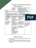 Matriz de Problemas, Oportunidades, Objetivos y Restricciones