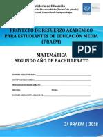 Segunda Prueba de Avance de Matemática - Segundo Año de Bachilllerato - PRAEM 2018