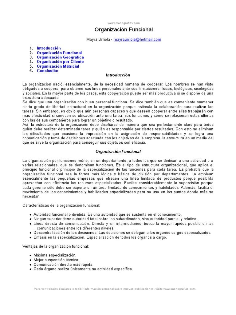 Organizacion Funcional Marketing Mercado Economía