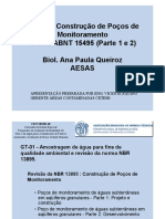Projeto e Construção de Poços de Monitoramento Norma ABNT 15495 (Parte 1 e 2) Biol. Ana Paula Queiroz AESAS