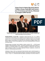 Homegrown VCargo Cloud to Deploy Blockchain-Based E-Certificate of Origin in Kenya; Seals MOU With Kenya's National Chamber of Commerce and Industry, Witnessed by Singapore DPM Tharman