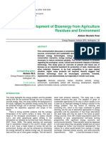 Sustainable Development of Bioenergy from Agriculture Residues and Environment