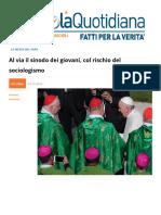 Al via Il Sinodo Dei Giovani Col Rischio Del Sociologismo