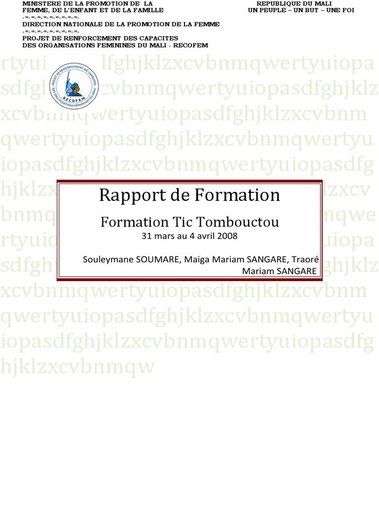 Rapport Modéle   Microsoft Word   Microsoft Excel
