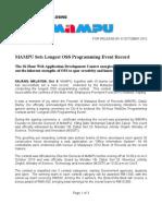 Press Release 36 Hour Oss Webdev Contest Closing - MAMPU Sets Longest OSS Programming Event Record