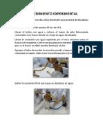 Procedimiento Experimental y Conclusiones