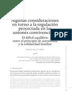 Consideraciones en torno a la regulación de las uniones convivenciales