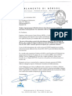 Karta 4 di oktober 2018 - Agregá grupo di Kolaboradornan den deporte na nos reunion di komishon sentral pidi dia 14 di sèptèmber 2018 na Parlamento di Kòrsou