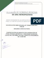 Bases Adjudicación Simplificada Ley 30556 Nº 005-2018-PGRML  Descolmatación del Cauce del Río Rímac