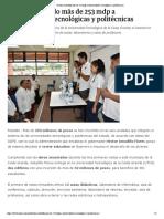 04-09-2018 Destina Astudillo más de 253 mdp a universidades tecnológicas y politécnicas.