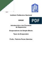 Evaporadores de Simple Efecto