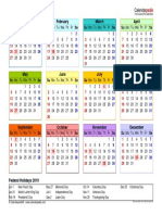 2019 Calendar Landscape Year at a Glance in Color