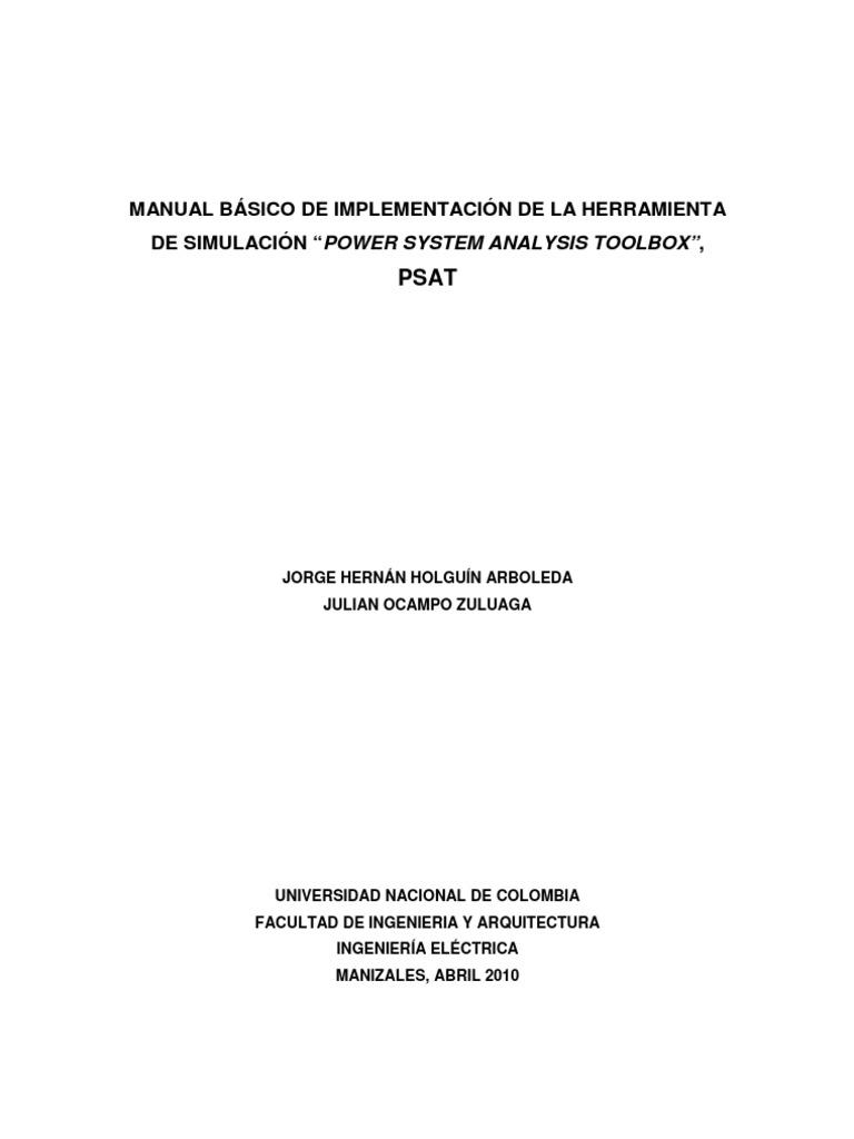 """MANUAL BÁSICO DE IMPLEMENTACIÓN DE LA HERRAMIENTA DE SIMULACIÓN """"POWER  SYSTEM ANALYSIS TOOLBOX"""