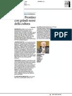 Premio Frontino con grandi nomi della cultura - Il Resto del Carlino del 4 ottobre 2018