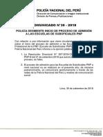 COMUNICADO PNP N° 30 - 2018