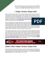 Daftar Poker Online Terbaru Tahun 2018