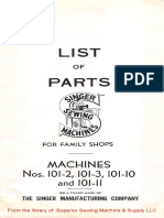Parts Manual for Singer 101-2, -3, -10, -11