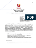 PROPESP - Edital de Inscrição e Submissão de Trabalhos Científicos Na Mostra de Produção Científica 2018
