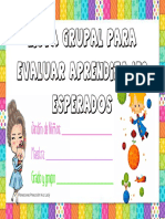 Lista de Aprendizajes Para Evaluar Grupalmente Planeaciones Preescolar
