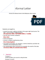 Informal Letter Format & Exercise