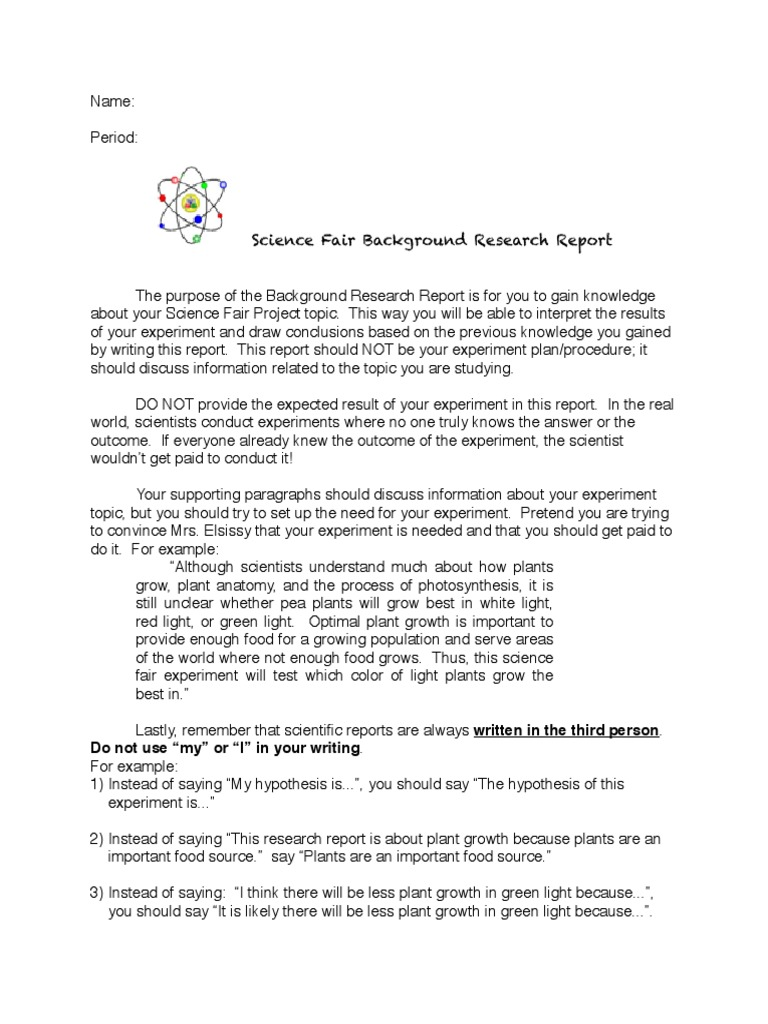 research report science project