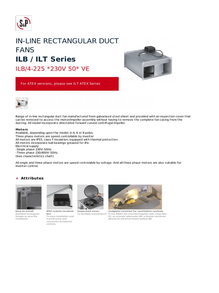 In Line Rectangular Duct Fans Ilb Ilt Series 4 225 Fan Speed Control Wiring Diagram Flow Insulator Electricity