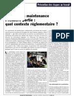 Securite en Maintenance Contexte Reglementaire Janvier 2012