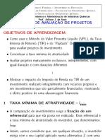 Métodos de avaliacao de projetos