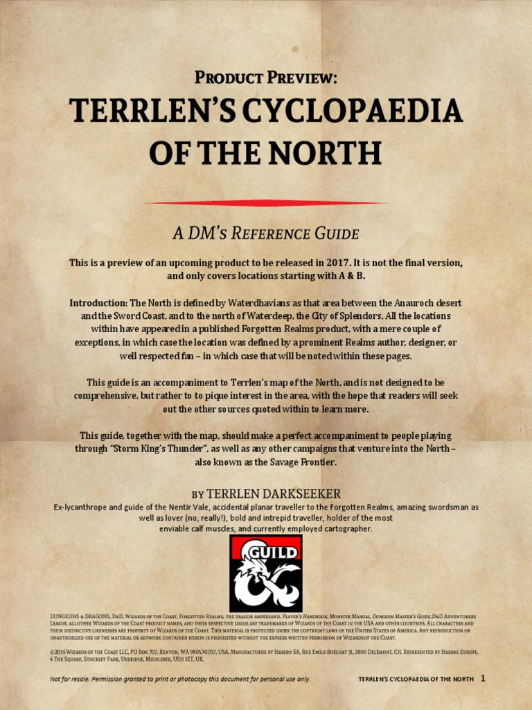 Preview - Terrlens Cyclopaedia of the North | Forgotten Realms | Fantasy