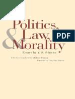 Vladimir Soloviev, Professor Vladimir Wozniuk-Politics, Law, And Morality_ Essays by v. S. Soloviev-Yale University Press (2000)