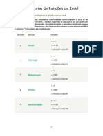 Resumo de Funções Excel