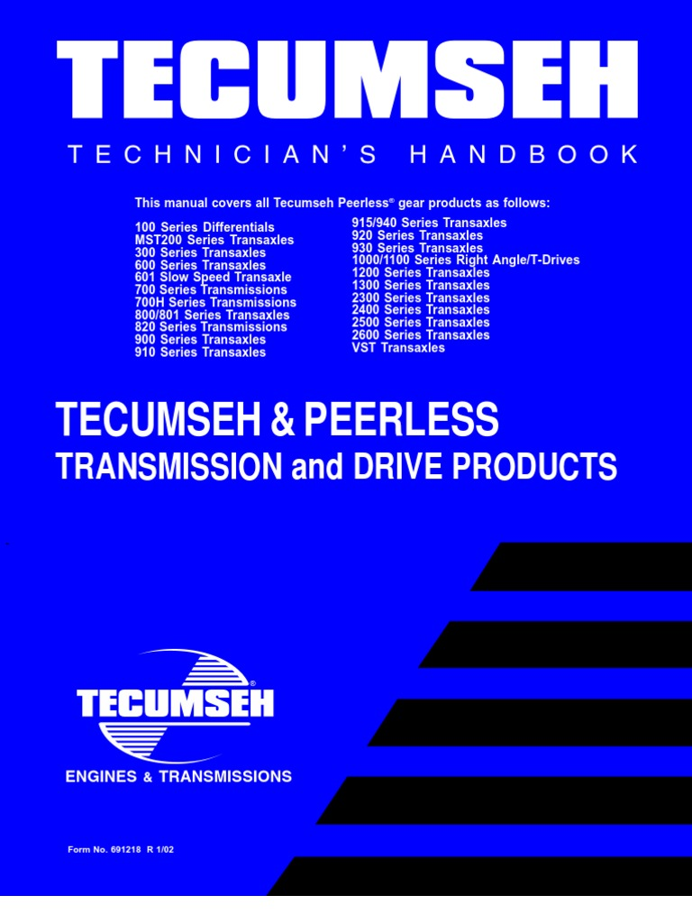 1-TESMM-Tecumseh Engine Service Maintenance Manual | Transmission  (Mechanics) | Gear