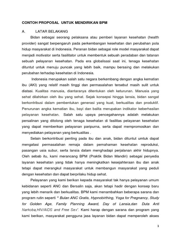 Contoh Proposal Untuk Mendirikan Bpm