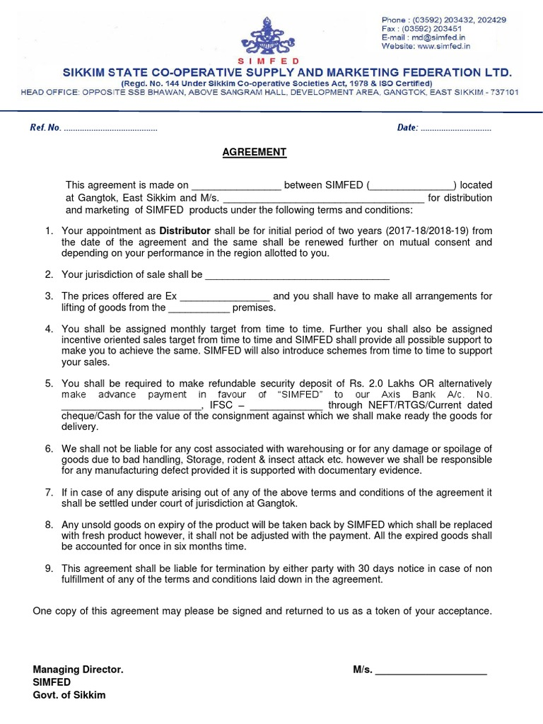 Distributor Agreement Final Private Law Money