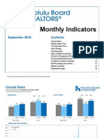 Honolulu Real Estate Monthly Indicator Sept 2010