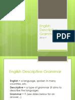 Basic Notions of English descriptive grammar
