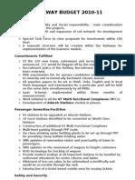 Highlights of Railway Budget 2010