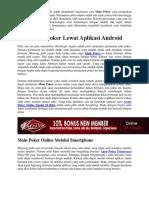 Cara Main Poker Lewat Aplikasi Android