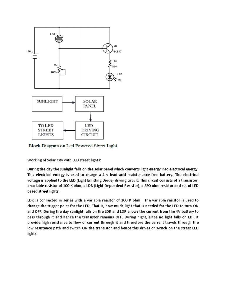 Working Of Solar City Light Dependent Resistor Circuit Diagram On A