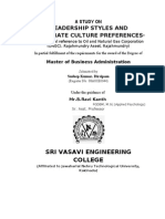 A STUDY ON LEADERSHIP STYLES AND COPORATE CULTURE PREFERENCES IN ONGC,RAJAHMUNDRY